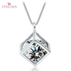 Italina Austrian Crystal Zircon Square Pendant Necklace Gold Silver