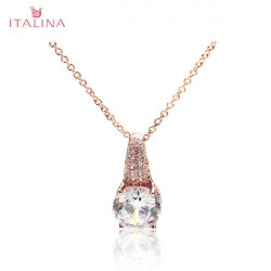 Italina Crystal Cubic Zirconia Pendant Necklace Wedding Jewelry