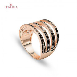 Italina Crystal Zircon Hollow Geometric Finger Ring 18K Rose Gold