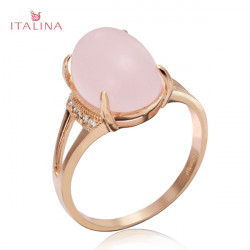 Italina Gold Plated Pink Opal Rhinestone Finger Ring For Women