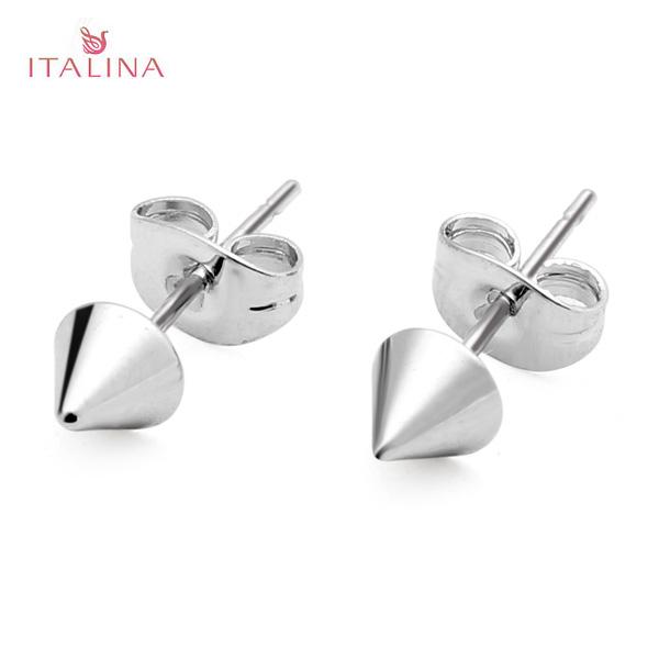 Italina Punk Gold Silber Metall Niet Bolzen Ohrring Frauen Schmuck Damenschmuck