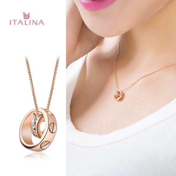 Italina Rhinestone Double Circle Rings Clavicle Chain Pendant Necklace Fine Jewelry