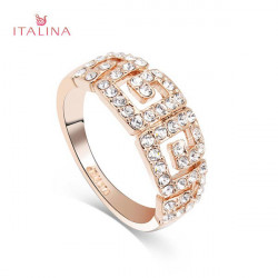 Italina Women Gold Silver Plated Rhinestone G Paved Ring Jewelry