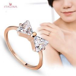 Italina Zircon Kristallbowknot Finger Ring 18K Rose Gold überzogen