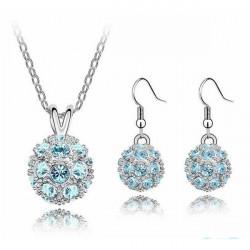 Korea Glittering Full Crystal Ball Necklace Earrings Jewelry Set