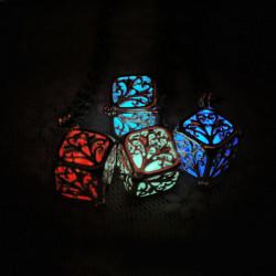 Locket Pierced Hollow Cube Wishing Tree Luminous Vedhæng Halskæde