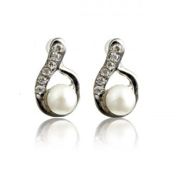 Lovely Full Rhinestone Pearl Water Drop Stud Earrings For Women