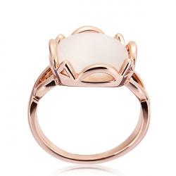 Schöne Gold überzogene Rose Pure White Opal Legierung Fingerring für Frauen