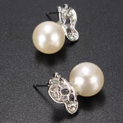 Schöne Silber Perlen Schmetterlings Ohr Bolzen Ohrringe für Frauen