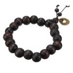 Glückliche schwarze Holzperlen Münze buddhistisches Gebet Armband Unisex Damenschmuck