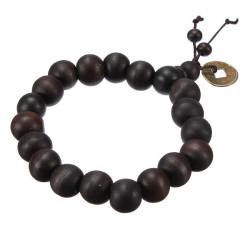 Glückliche schwarze Holzperlen Münze buddhistisches Gebet Armband Unisex