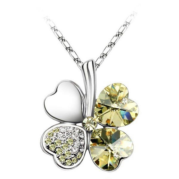 Lucky Four Clover Crystal Pandant Necklace With Swarovski Element Women Jewelry