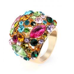 Luksus Farverig Østrigske Krystal Kvinder Ring 18K Forgyldt