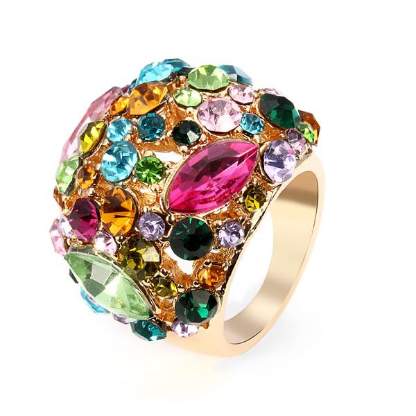 Luksus Farverig Østrigske Krystal Kvinder Ring 18K Forgyldt Damesmykker