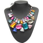 Luksus Farverige Big Crystal Statement Halskæde Ribbon Kæde Halskæde Damesmykker