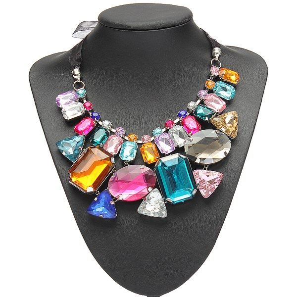 Luxus bunte große Kristall Aussagen Halsketten Band Ketten Halskette Damenschmuck