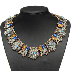 Luxury Colorful Crystal Flower Chunky Choker Pendant Necklace