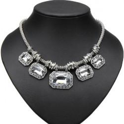 Lyx Crystal Rhinestone Square Choker Hängande Statement Necklace