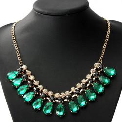 Luxus Kristallwasser Tropfen Statement Halsband Anhänger Halskette