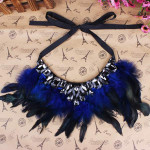 Luxuxfeder Kristallanhänger Erklärung Band Halsband Halskette Schmucksachen