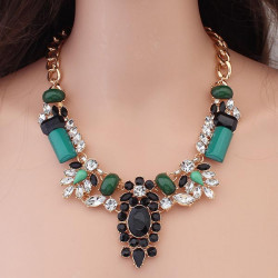 Luxury Green Crystal Big Chunky Flower Necklace Gold Plated