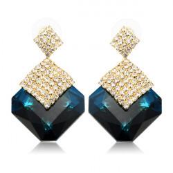 Luksus Square Crystal Rhinestone Drop Øreringe til Kvinder