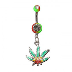 Maple Leaf Crystal Navel Belly Button Ring Piercing Body Jewelry