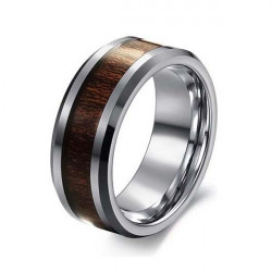 Herr Tungsten Steel Kolfiber Rosewood Wide Ring