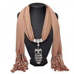 Metal Owl Pendant Tassel Scarf Necklace Women Jewelry Autumn Winter