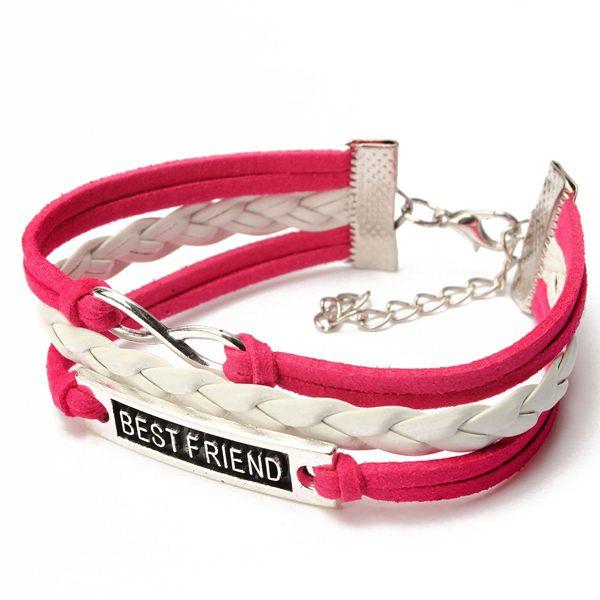 Multicolor Best Friend Infinity Symbol Flettet Læder Armbånd Damesmykker