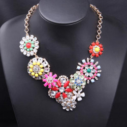 Multicolor Crystal Flower Chunky Choker Necklace Gold Plated