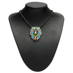 Multicolor Crystal Flower Statement Pendant Necklace Women Jewelry