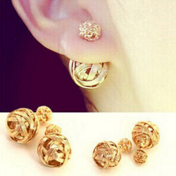 Multicolor Double Sides Hollow Out Two Balls Ear Stud Earrings