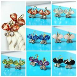 Multicolor Gold überzogene Kristall Strass Schmetterling Ohrring Ohr Tropfen