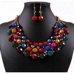 Multicolor Round Beads Pendant Necklace Earrings Jewelry Set