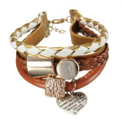 Multilayer Brown Leather Gold Metal Heart Rope Bracelet Bangle