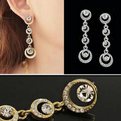Multilayer Circles Round Rhinestone Crystal Drop Earrings For Women