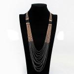 Multilayer Goldschwarz Troddel Halsketten Langkette für Frauen Damenschmuck