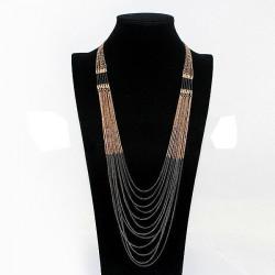 Multilayer Goldschwarz Troddel Halsketten Langkette für Frauen