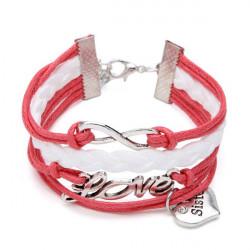 Multilayer Oändlig Symbol Kärlek Syster Hjärta Charm Läderarmband