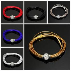 Multilayer Magnetic Rhinestone Buckle Bangle Leather Cuff Bracelet