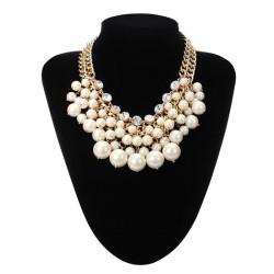 Mehrschichtiges Perlen Korn Kristallkragenhalsketten Gold überzogene Ketten