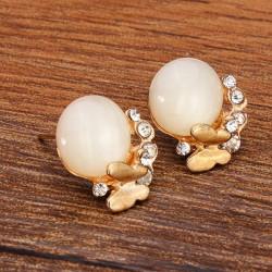 Opal Kristallrhinestone Schmetterlings Ohr Bolzen Ohrringe für Frauen