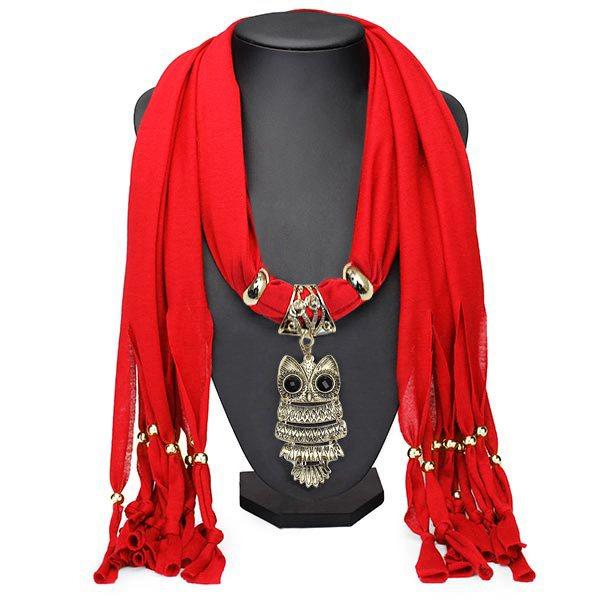 Eulen Anhänger Quaste Schal Halskette Frauen Schmuck Herbst Winter Damenschmuck