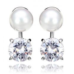 Perle Zirkonoxid Kristalllegierungs Ohr Bolzen Ohrring Frauen Schmuck