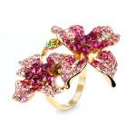 Rosa österreichischen Kristall Blumen Finger Ring 18K Gold überzogen Damenschmuck