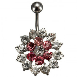 Pink White Crystal Flower Belly Button Navel Ring Body Piercing