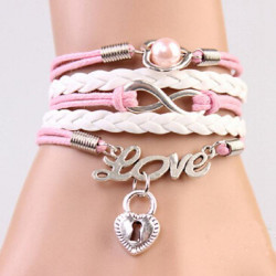 Pink White Infinity Love Hjerte Lock Multilayer Læderarmbånd