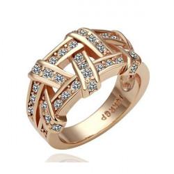 Platinum Plated Crystal Finger Rings Rose Gold Golden Alloy