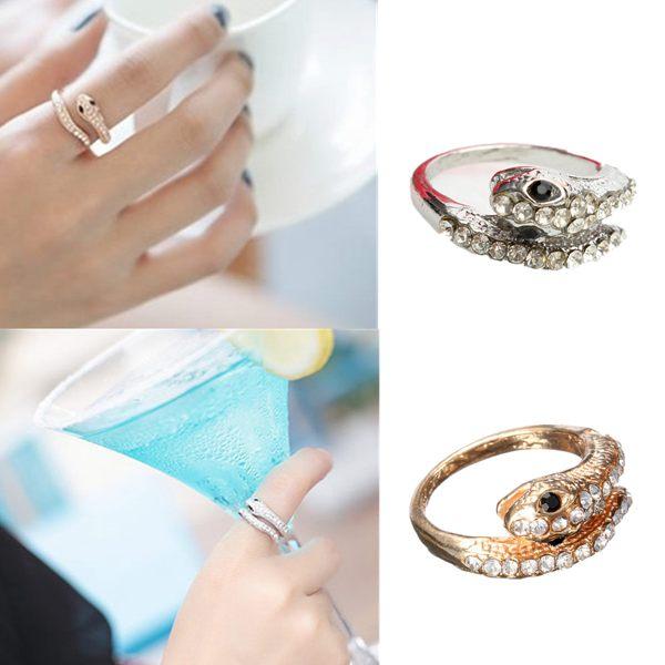 Punk Gold Silver Rhinestone Snake Finger Ring For Women Women Jewelry